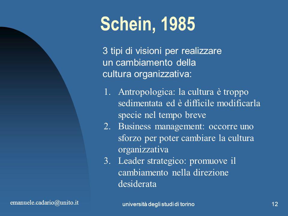 università degli studi di torino12 Schein, 1985 3 tipi di visioni per realizzare un cambiamento della cultura organizzativa: 1.Antropologica: la cultu