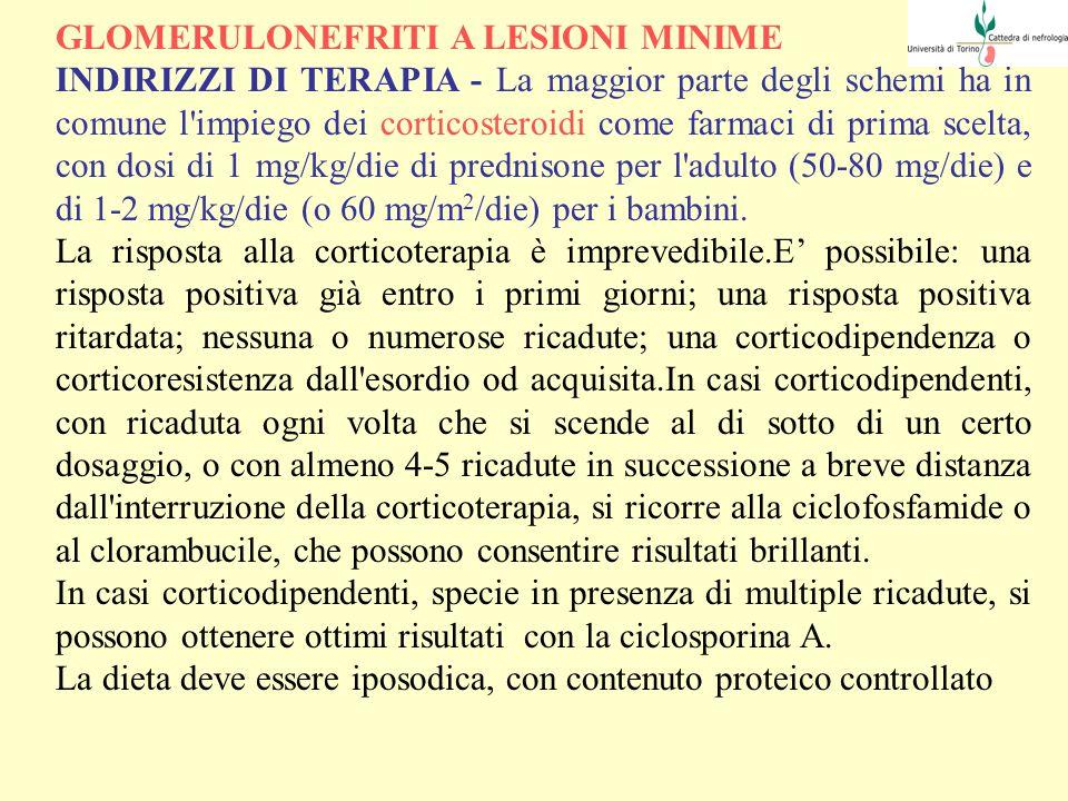 GLOMERULONEFRITI A LESIONI MINIME INDIRIZZI DI TERAPIA - La maggior parte degli schemi ha in comune l'impiego dei corticosteroidi come farmaci di prim