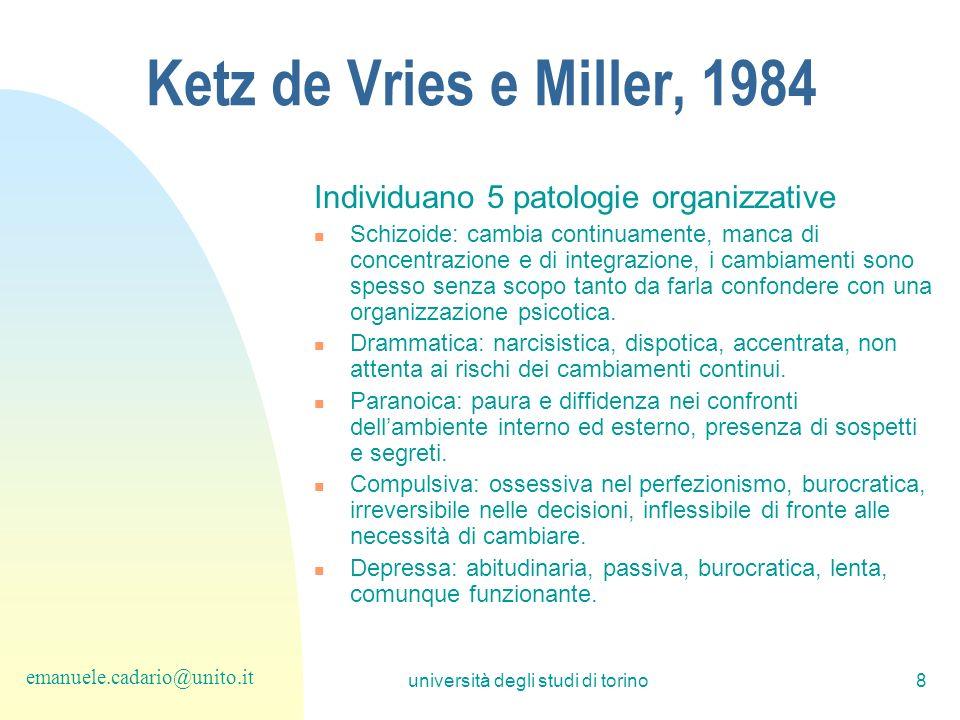 università degli studi di torino8 Ketz de Vries e Miller, 1984 Individuano 5 patologie organizzative Schizoide: cambia continuamente, manca di concent