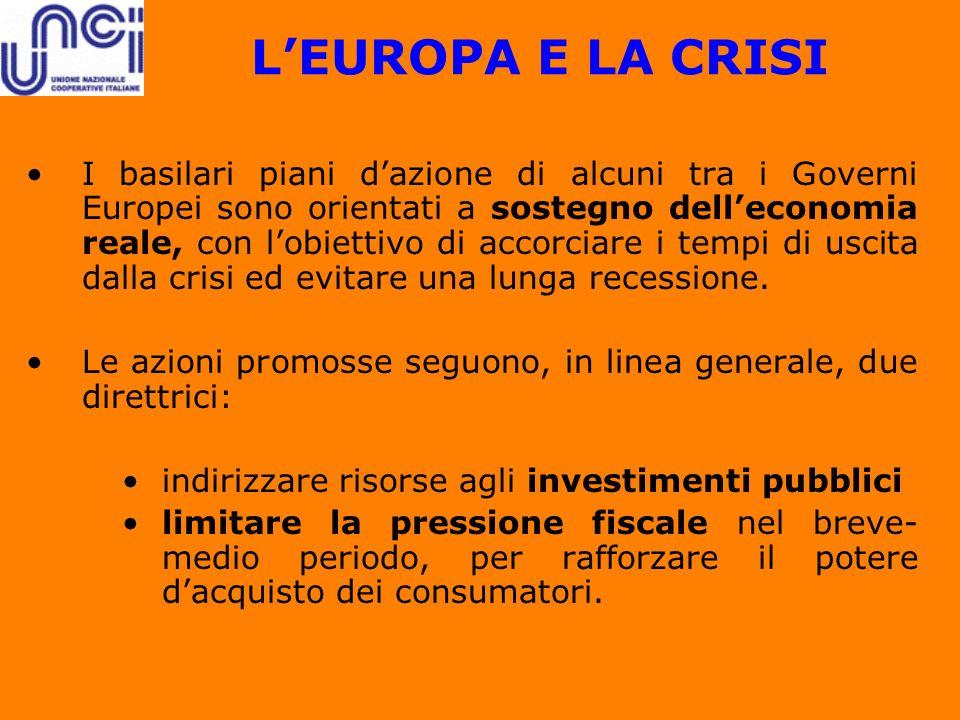 LEUROPA E LA CRISI I basilari piani dazione di alcuni tra i Governi Europei sono orientati a sostegno delleconomia reale, con lobiettivo di accorciare