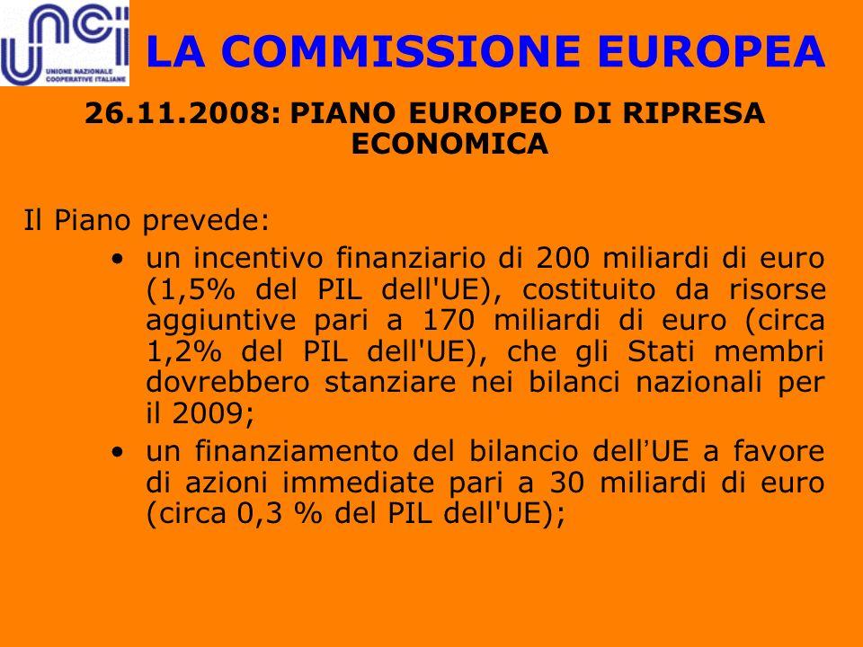 LA COMMISSIONE EUROPEA 26.11.2008: PIANO EUROPEO DI RIPRESA ECONOMICA Il Piano prevede: un incentivo finanziario di 200 miliardi di euro (1,5% del PIL
