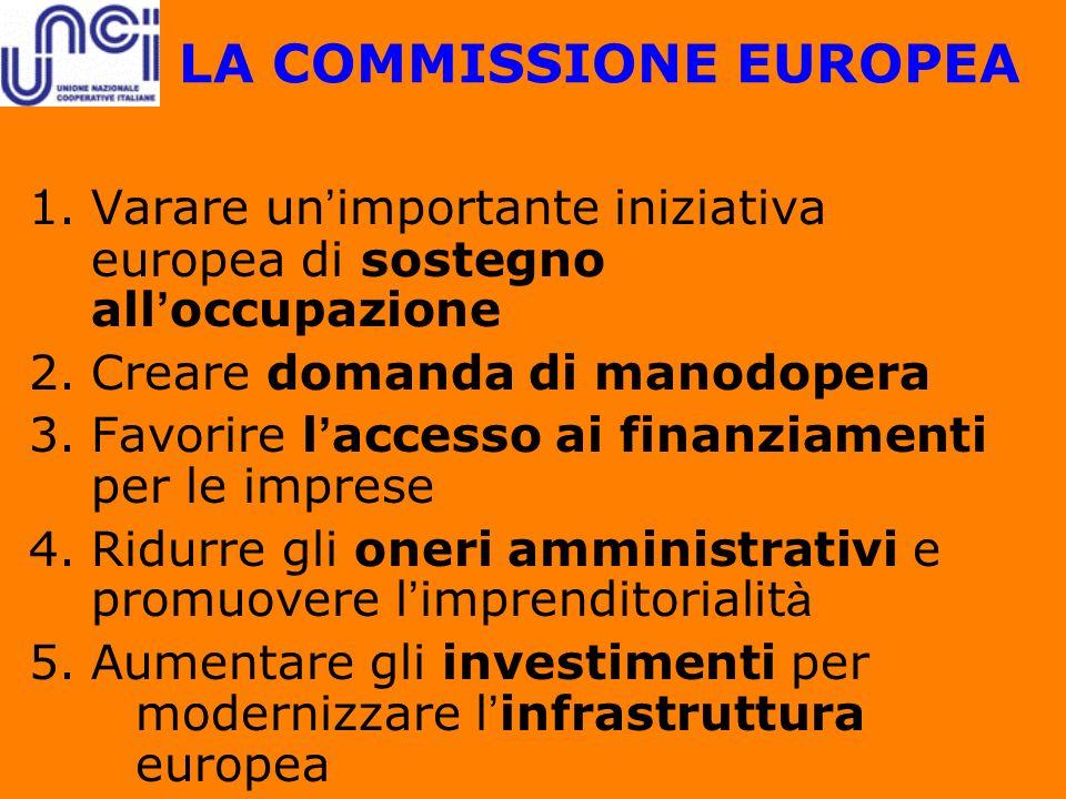LA COMMISSIONE EUROPEA 1.Varare un importante iniziativa europea di sostegno all occupazione 2.Creare domanda di manodopera 3.Favorire l accesso ai fi