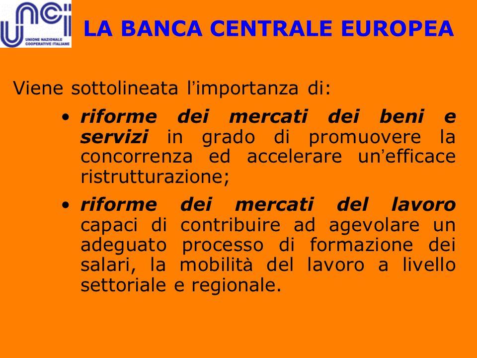 LA BANCA CENTRALE EUROPEA Viene sottolineata l importanza di: riforme dei mercati dei beni e servizi in grado di promuovere la concorrenza ed accelera