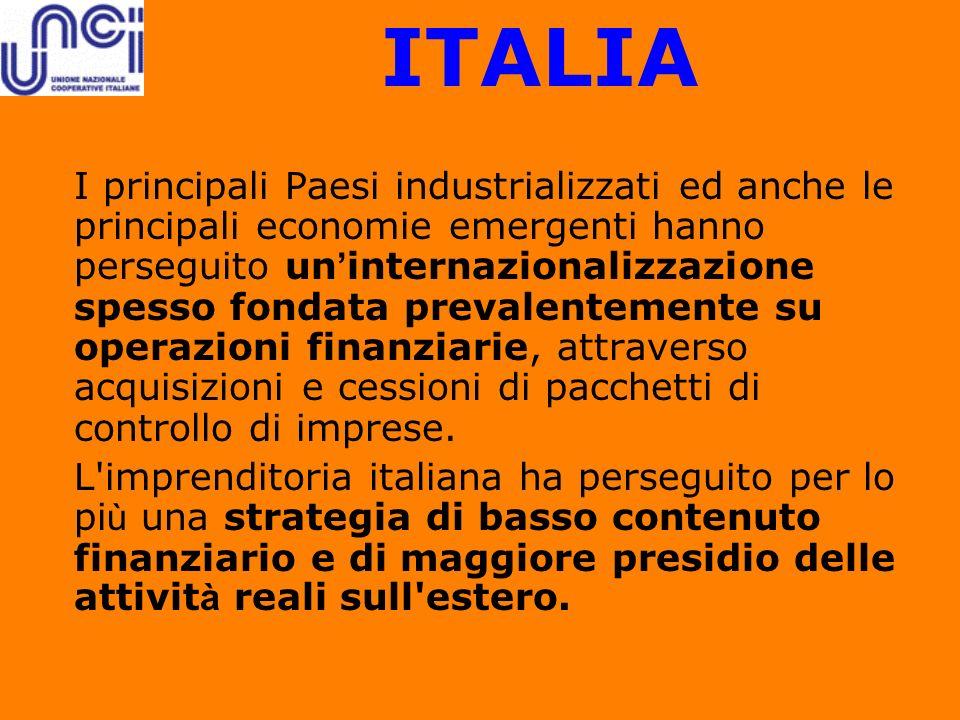 ITALIA I principali Paesi industrializzati ed anche le principali economie emergenti hanno perseguito un internazionalizzazione spesso fondata prevale