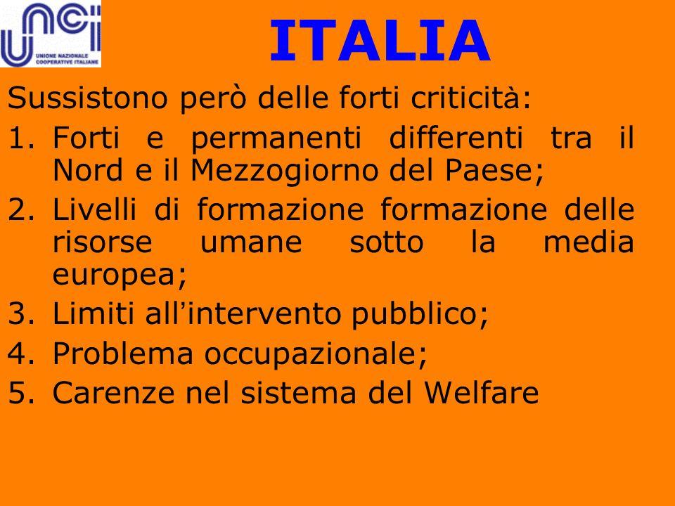 ITALIA Sussistono però delle forti criticit à : 1.Forti e permanenti differenti tra il Nord e il Mezzogiorno del Paese; 2.Livelli di formazione formaz