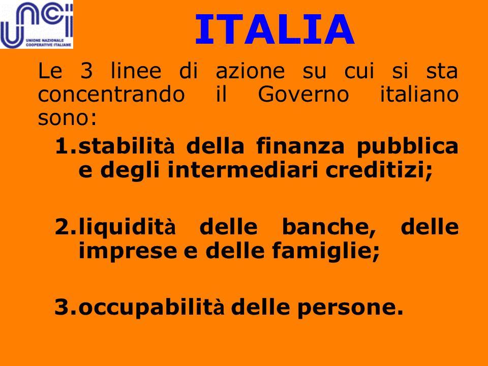 ITALIA Le 3 linee di azione su cui si sta concentrando il Governo italiano sono: 1.stabilit à della finanza pubblica e degli intermediari creditizi; 2