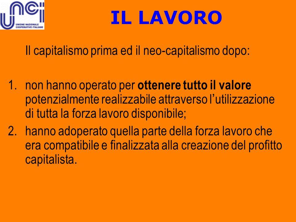 IL LAVORO Il capitalismo prima ed il neo-capitalismo dopo: 1.non hanno operato per ottenere tutto il valore potenzialmente realizzabile attraverso l u