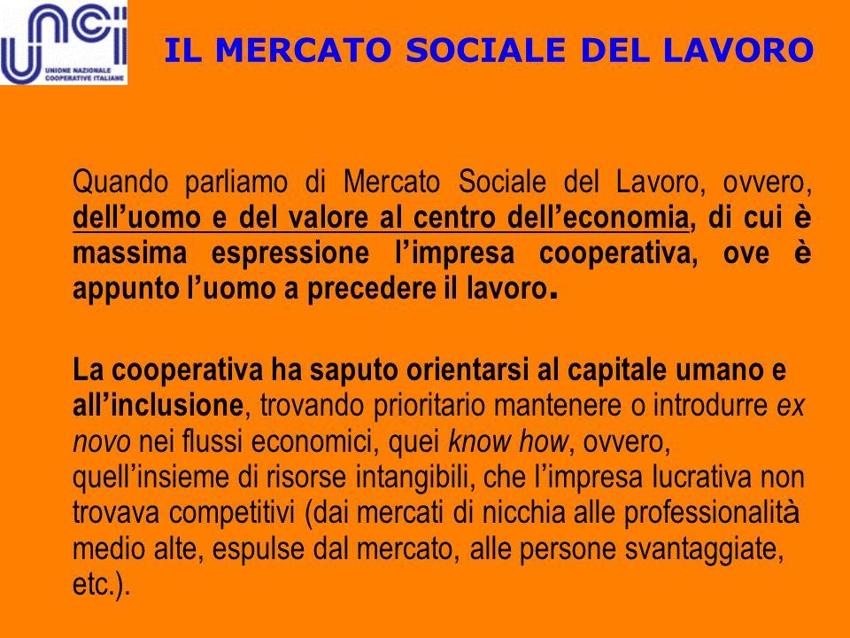 IL MERCATO SOCIALE DEL LAVORO Quando parliamo di Mercato Sociale del Lavoro, ovvero, dell uomo e del valore al centro dell economia, di cui è massima
