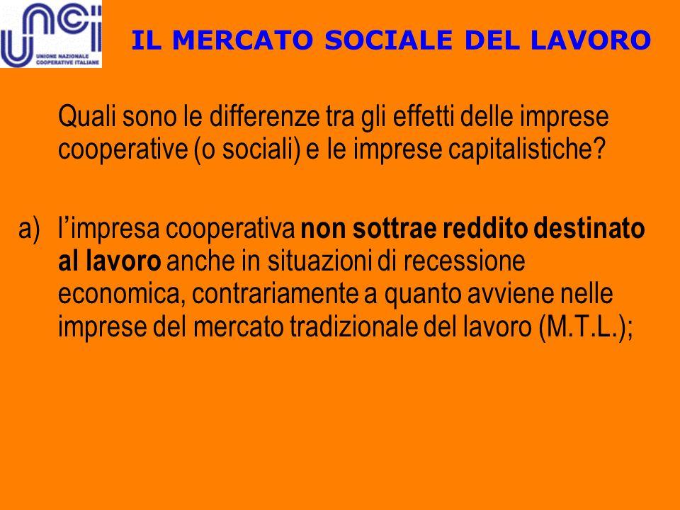 IL MERCATO SOCIALE DEL LAVORO Quali sono le differenze tra gli effetti delle imprese cooperative (o sociali) e le imprese capitalistiche? a)l impresa