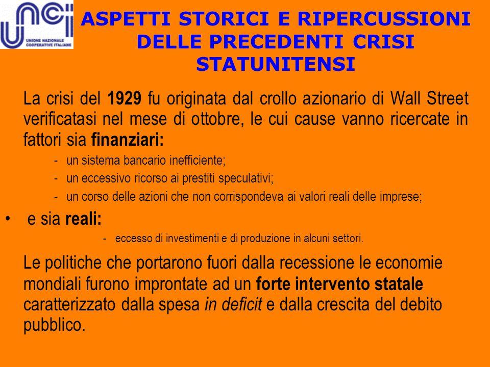 ASPETTI STORICI E RIPERCUSSIONI DELLE PRECEDENTI CRISI STATUNITENSI La crisi del 1929 fu originata dal crollo azionario di Wall Street verificatasi ne