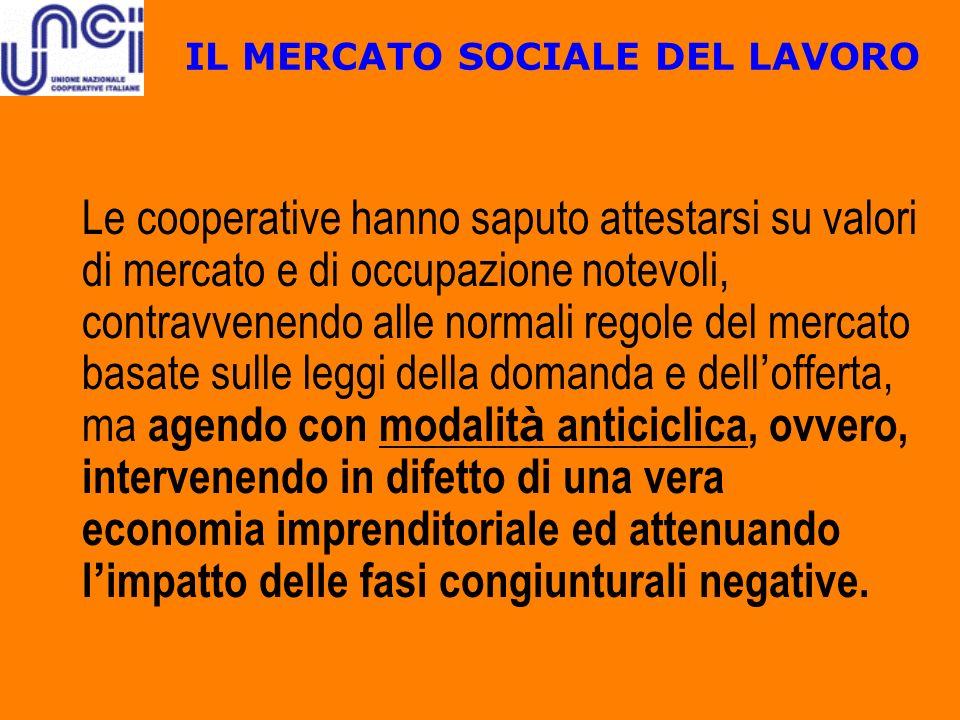 IL MERCATO SOCIALE DEL LAVORO Le cooperative hanno saputo attestarsi su valori di mercato e di occupazione notevoli, contravvenendo alle normali regol