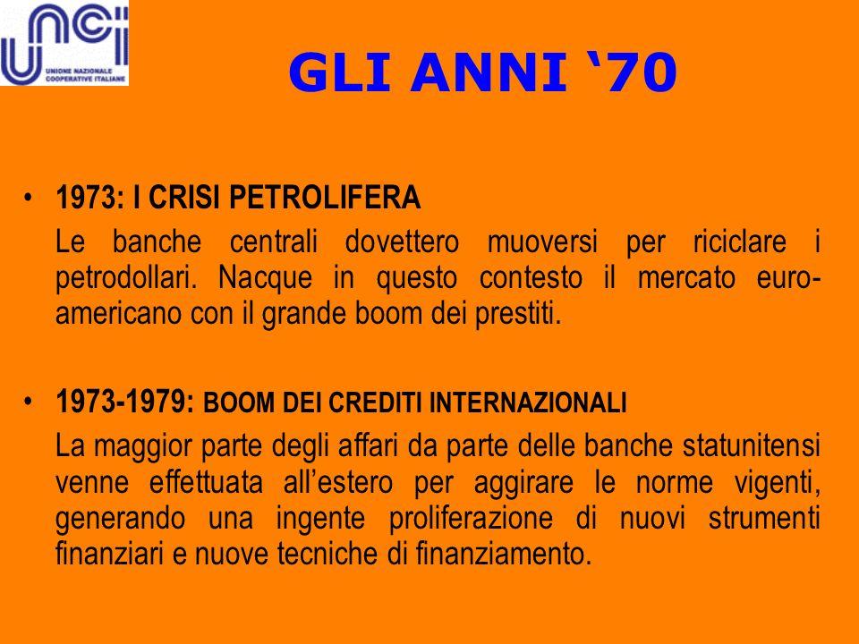 GLI ANNI 70 1973: I CRISI PETROLIFERA Le banche centrali dovettero muoversi per riciclare i petrodollari. Nacque in questo contesto il mercato euro- a