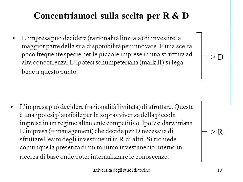 università degli studi di torino13 Concentriamoci sulla scelta per R & D Limpresa può decidere (razionalità limitata) di investire la maggior parte della sua disponibilità per innovare.