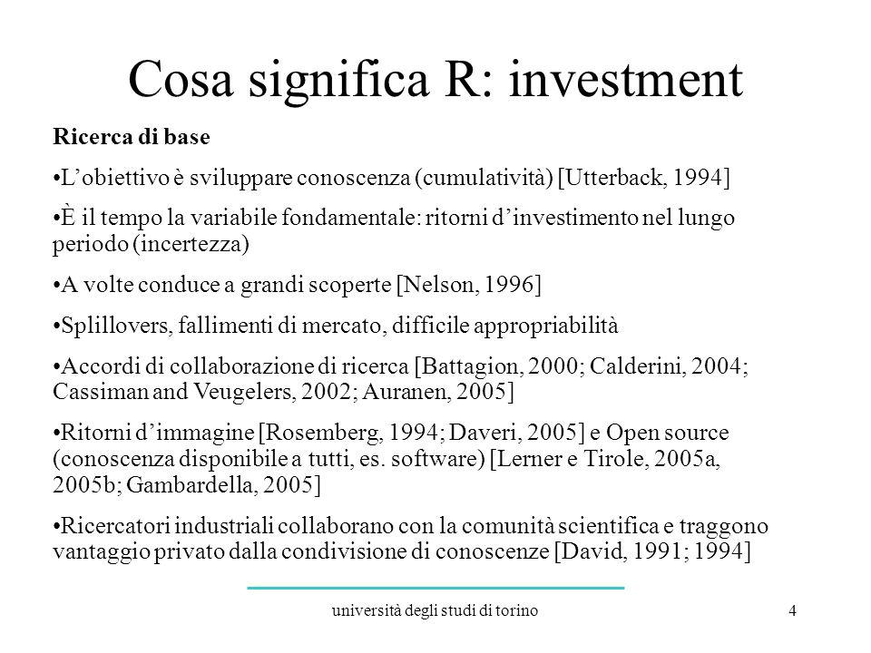 università degli studi di torino15 Lorganizzazione R può decidere di: Bloccare gli investimenti a lungo termine e indirizzare le risorse a D; questo qualora la percentuale di imprese D nel suo intorno sia molto elevata.