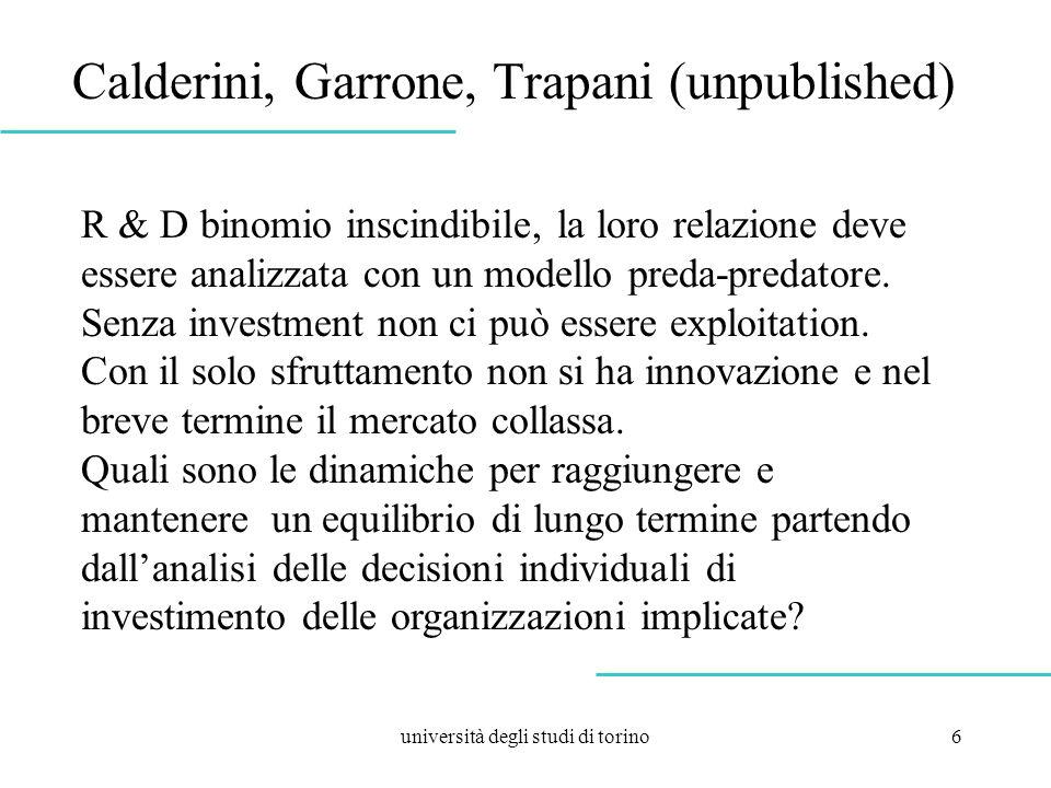 università degli studi di torino6 Calderini, Garrone, Trapani (unpublished) R & D binomio inscindibile, la loro relazione deve essere analizzata con un modello preda-predatore.