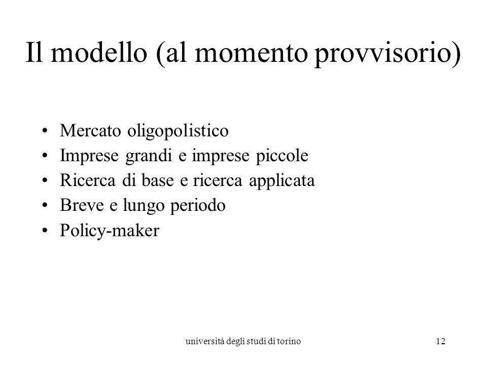 università degli studi di torino12 Il modello (al momento provvisorio) Mercato oligopolistico Imprese grandi e imprese piccole Ricerca di base e ricer