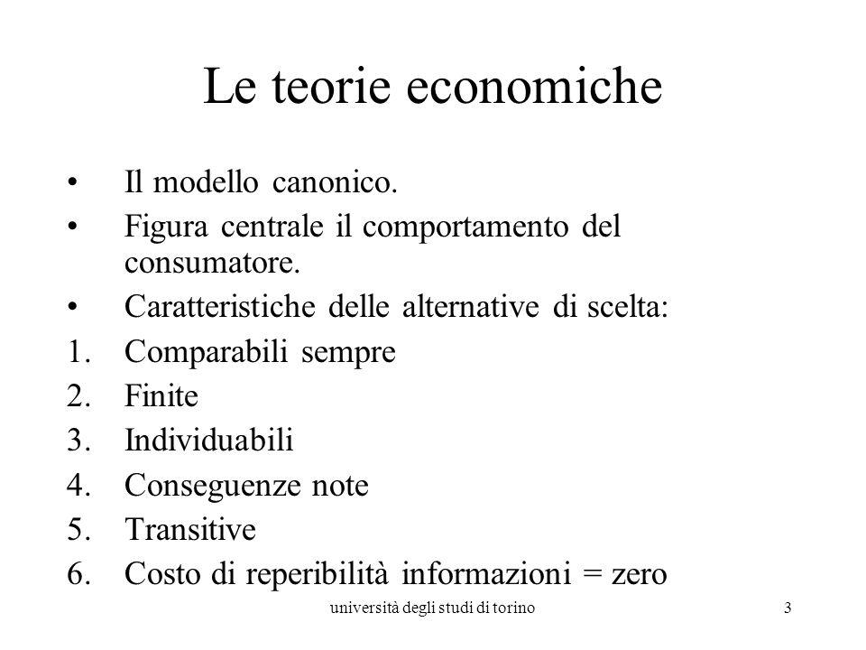 università degli studi di torino3 Le teorie economiche Il modello canonico. Figura centrale il comportamento del consumatore. Caratteristiche delle al