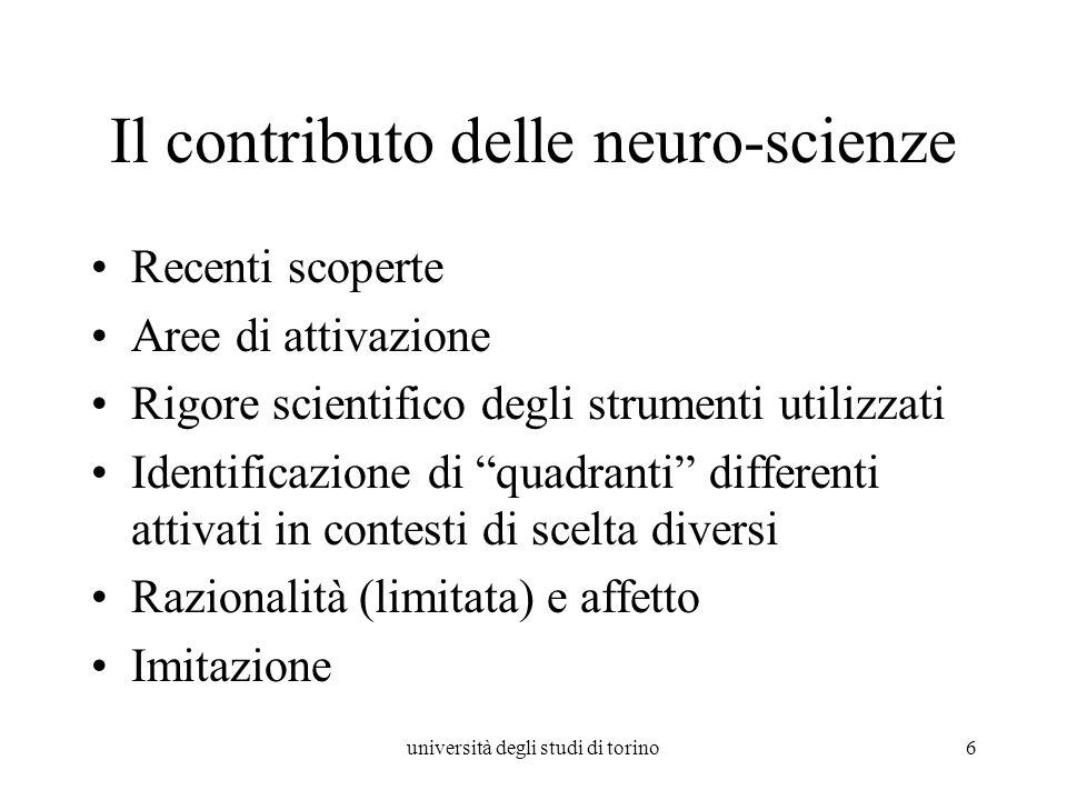 università degli studi di torino6 Il contributo delle neuro-scienze Recenti scoperte Aree di attivazione Rigore scientifico degli strumenti utilizzati