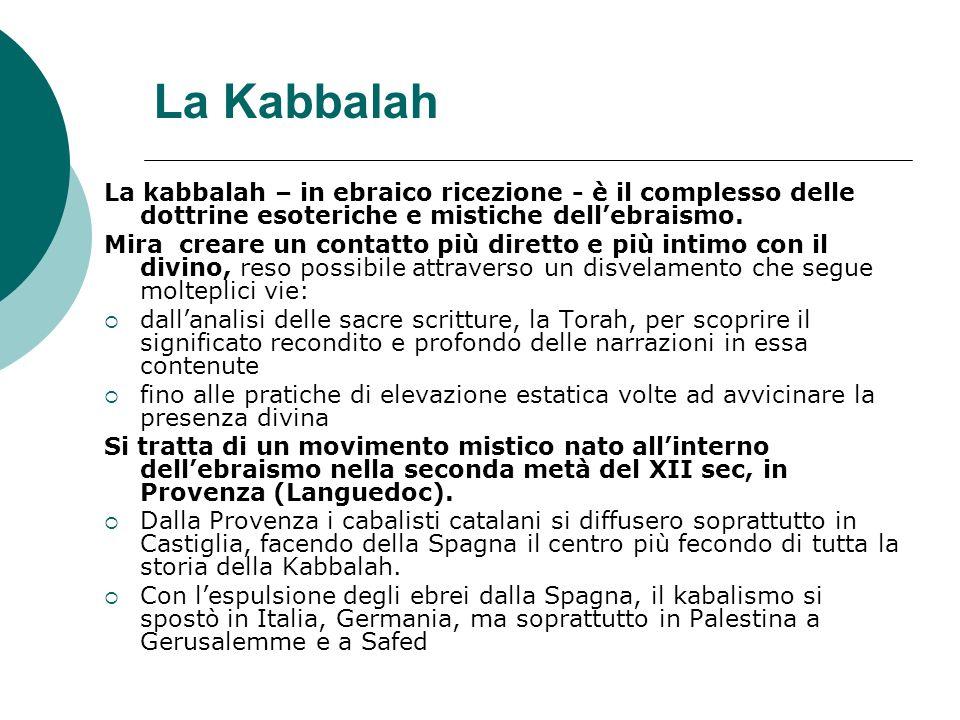 La Kabbalah La kabbalah – in ebraico ricezione - è il complesso delle dottrine esoteriche e mistiche dellebraismo. Mira creare un contatto più diretto