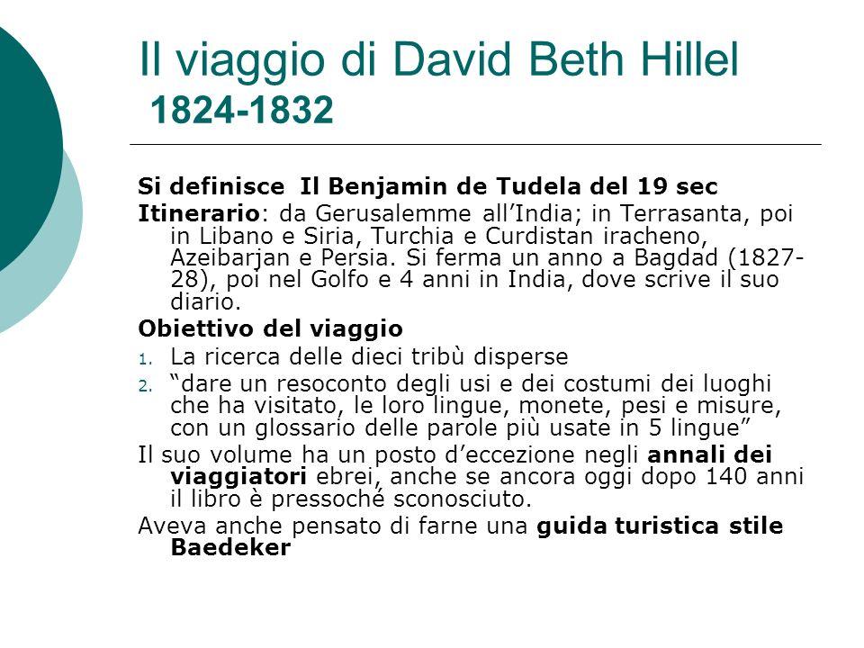 Il viaggio di David Beth Hillel 1824-1832 Si definisce Il Benjamin de Tudela del 19 sec Itinerario: da Gerusalemme allIndia; in Terrasanta, poi in Lib