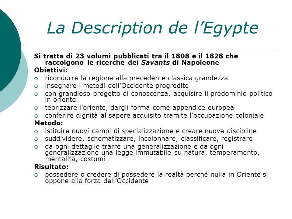 La Description de lEgypte Si tratta di 23 volumi pubblicati tra il 1808 e il 1828 che raccolgono le ricerche dei Savants di Napoleone Obiettivi: ricon