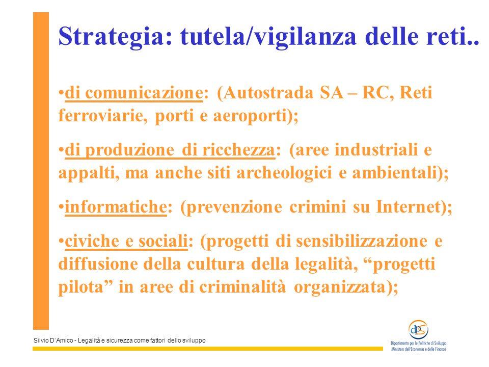 Silvio DAmico - Legalità e sicurezza come fattori dello sviluppo Strategia: tutela/vigilanza delle reti.. di comunicazione: (Autostrada SA – RC, Reti