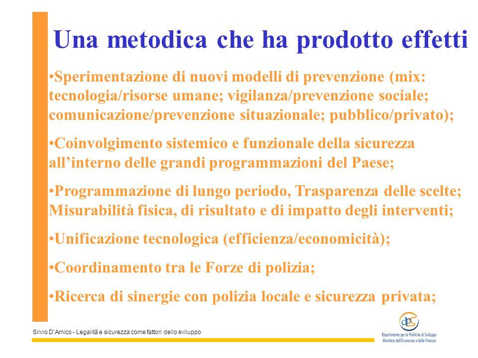 Silvio DAmico - Legalità e sicurezza come fattori dello sviluppo Una metodica che ha prodotto effetti Sperimentazione di nuovi modelli di prevenzione