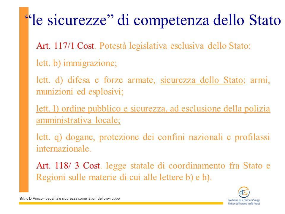 Silvio DAmico - Legalità e sicurezza come fattori dello sviluppo le sicurezze di competenza dello Stato Art. 117/1 Cost. Potestà legislativa esclusiva