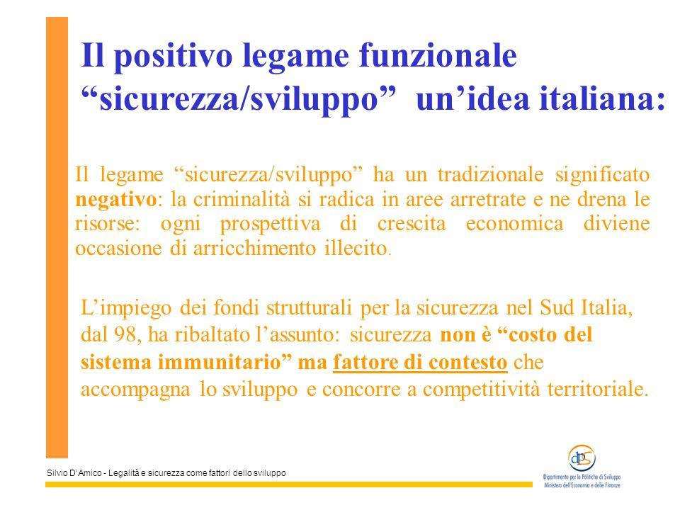 Silvio DAmico - Legalità e sicurezza come fattori dello sviluppo Il legame sicurezza/sviluppo ha un tradizionale significato negativo: la criminalità