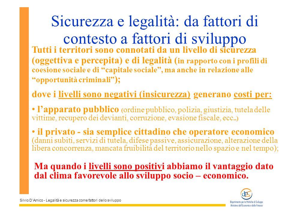 Silvio DAmico - Legalità e sicurezza come fattori dello sviluppo Sicurezza e legalità: da fattori di contesto a fattori di sviluppo Tutti i territori