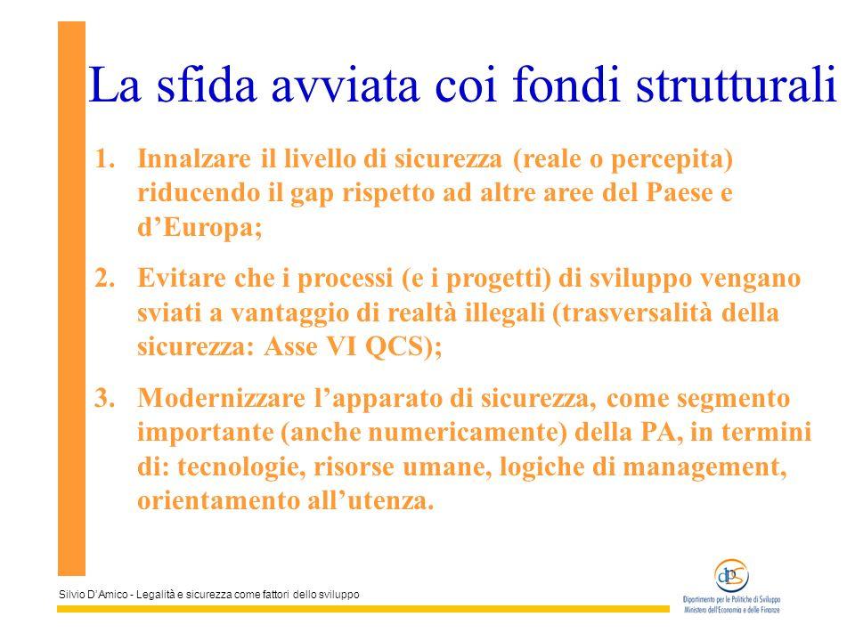 Silvio DAmico - Legalità e sicurezza come fattori dello sviluppo La sfida avviata coi fondi strutturali 1.Innalzare il livello di sicurezza (reale o p