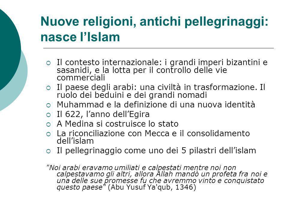 Nuove religioni, antichi pellegrinaggi: nasce lIslam Il contesto internazionale: i grandi imperi bizantini e sasanidi, e la lotta per il controllo del