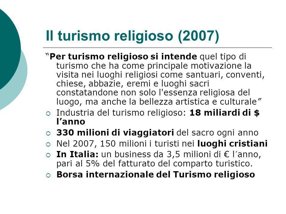 Il turismo religioso (2007) Per turismo religioso si intende quel tipo di turismo che ha come principale motivazione la visita nei luoghi religiosi co