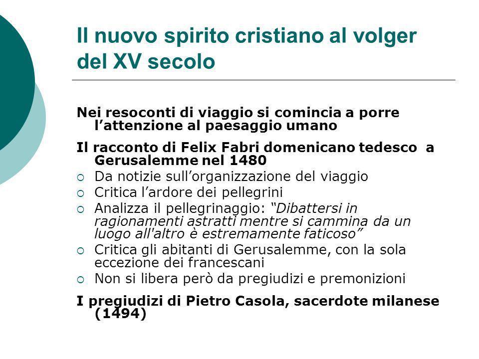 Il nuovo spirito cristiano al volger del XV secolo Nei resoconti di viaggio si comincia a porre lattenzione al paesaggio umano Il racconto di Felix Fa