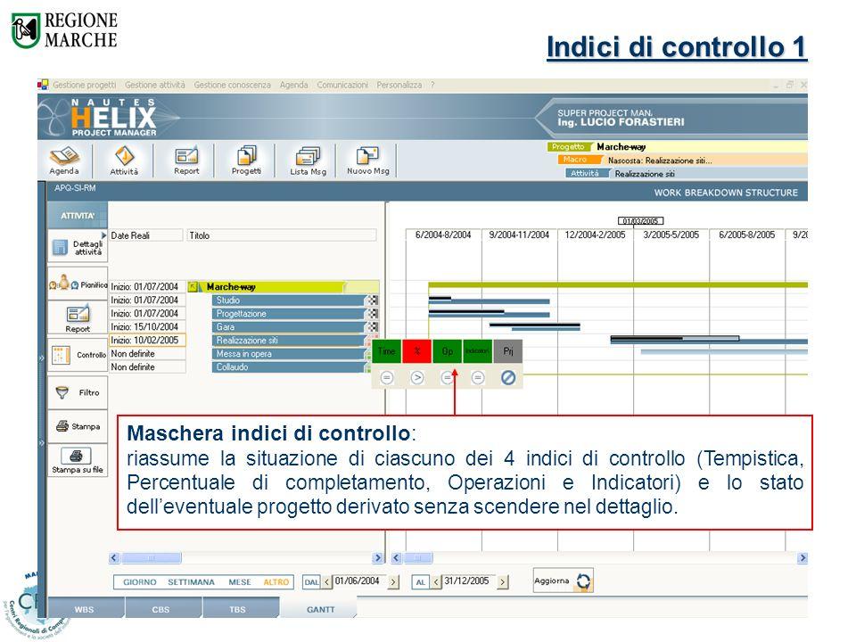 Davide Arduini – CRC Marche17 Indici di controllo 1 Maschera indici di controllo: riassume la situazione di ciascuno dei 4 indici di controllo (Tempis