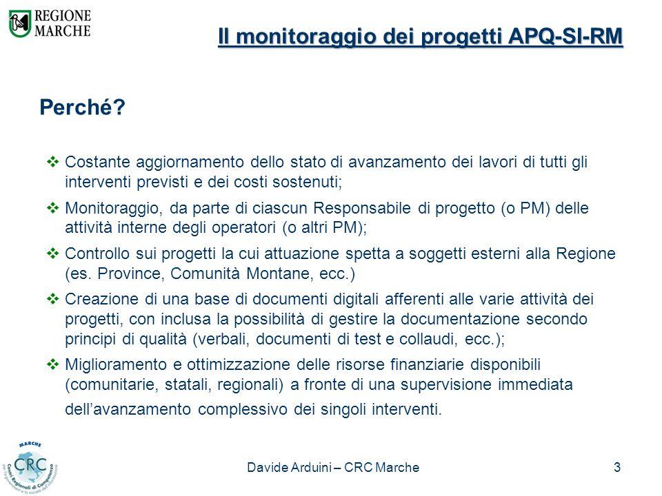Davide Arduini – CRC Marche3 Il monitoraggio dei progetti APQ-SI-RM Perché? Costante aggiornamento dello stato di avanzamento dei lavori di tutti gli