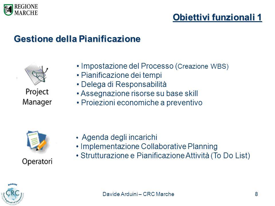 Davide Arduini – CRC Marche8 Obiettivi funzionali 1 Gestione della Pianificazione Impostazione del Processo ( Creazione WBS) Pianificazione dei tempi