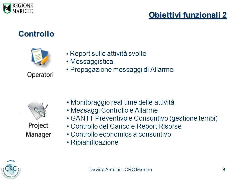 Davide Arduini – CRC Marche9 Controllo Monitoraggio real time delle attività Messaggi Controllo e Allarme GANTT Preventivo e Consuntivo (gestione temp