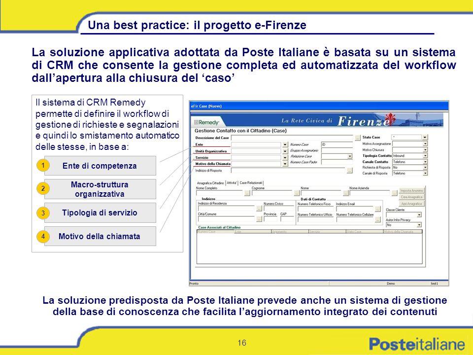 16 La soluzione applicativa adottata da Poste Italiane è basata su un sistema di CRM che consente la gestione completa ed automatizzata del workflow d