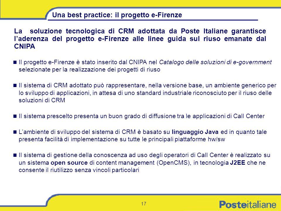 17 Il progetto e-Firenze è stato inserito dal CNIPA nel Catalogo delle soluzioni di e-government selezionate per la realizzazione dei progetti di rius