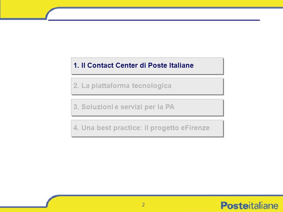 2 2. La piattaforma tecnologica 1. Il Contact Center di Poste Italiane 3. Soluzioni e servizi per la PA 4. Una best practice: il progetto eFirenze