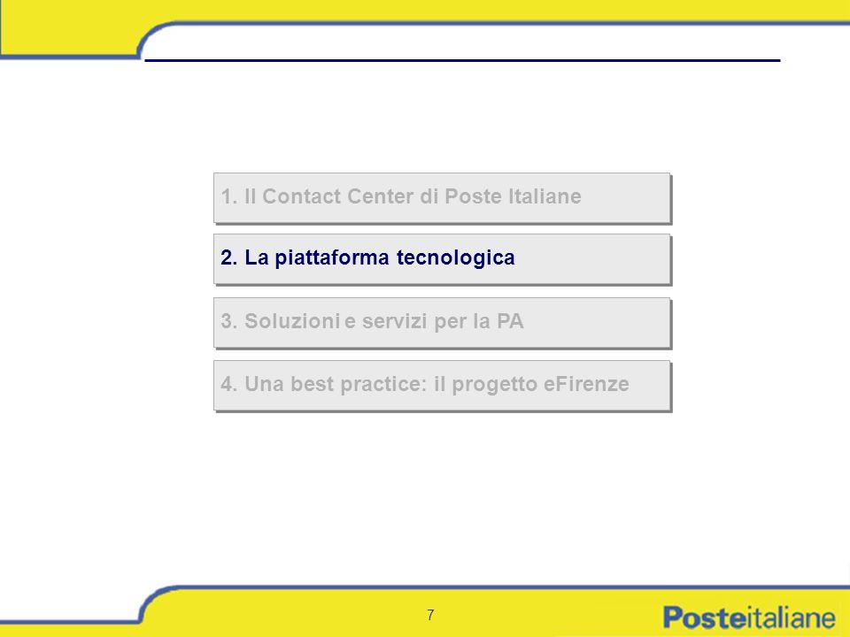 7 2. La piattaforma tecnologica 1. Il Contact Center di Poste Italiane 3. Soluzioni e servizi per la PA 4. Una best practice: il progetto eFirenze