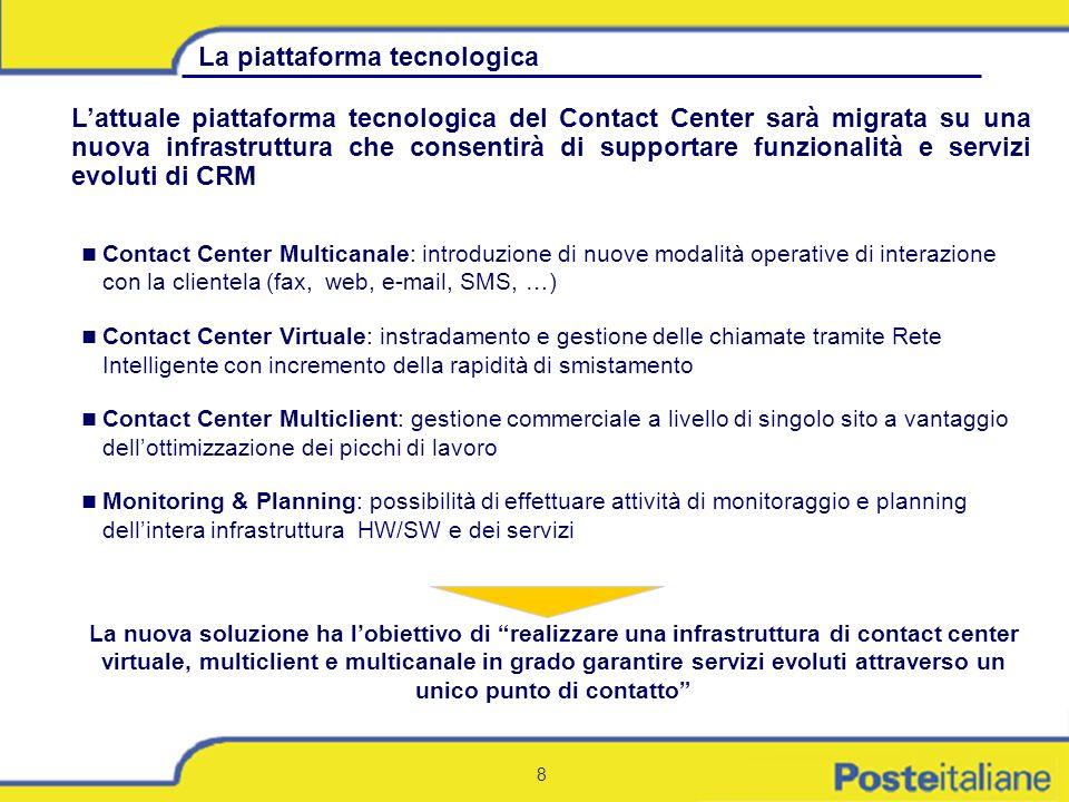 8 La piattaforma tecnologica Lattuale piattaforma tecnologica del Contact Center sarà migrata su una nuova infrastruttura che consentirà di supportare