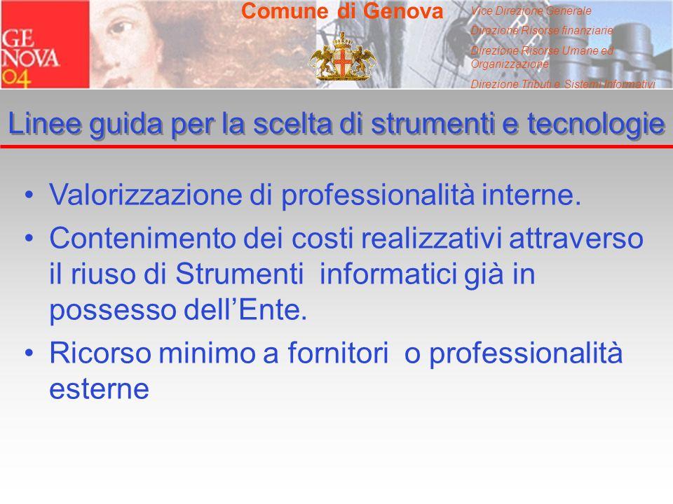 Vice Direzione Generale Direzione Risorse finanziarie Direzione Risorse Umane ed Organizzazione Direzione Tributi e Sistemi Informativi Comune di Genova Linee guida per la scelta di strumenti e tecnologie Valorizzazione di professionalità interne.