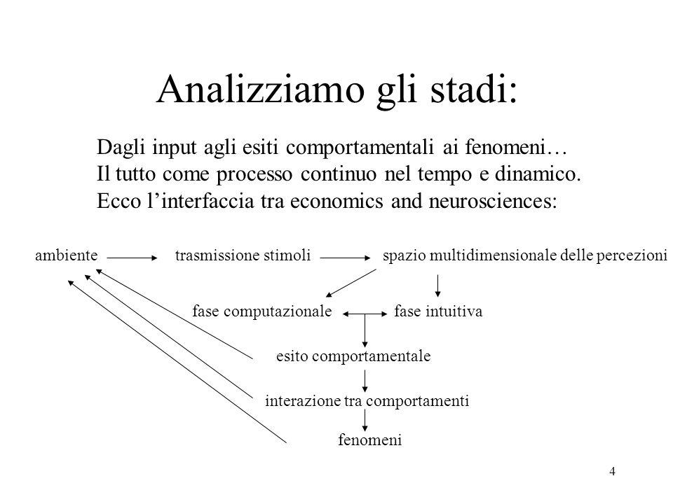 4 Analizziamo gli stadi: Dagli input agli esiti comportamentali ai fenomeni… Il tutto come processo continuo nel tempo e dinamico.