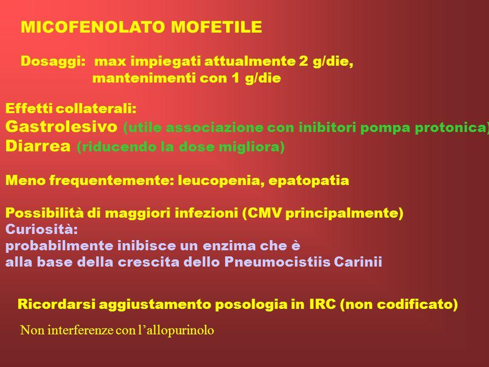 MICOFENOLATO MOFETILE Inibitore altamente selettivo reversibile e non competitivo della inosin monofosfato deidrogenasi (IMPDH). Enzima cruciale nella
