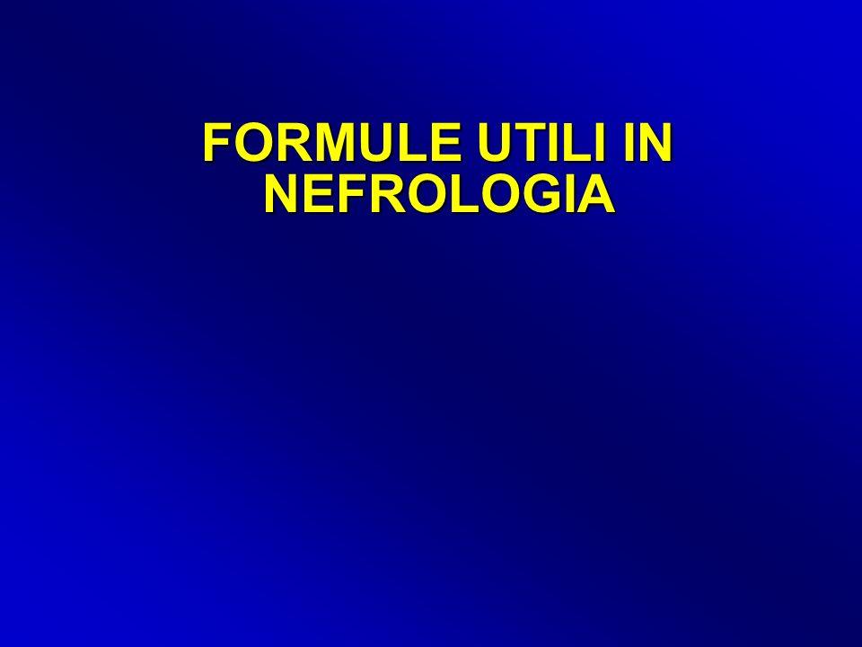 FORMULA DI MITCH: la base per il follow-up delle diete ipoproteiche (soprattutto strette) 6,25 x (azoto ureico urinario in g + 0.031 x peso in Kg) + proteinuria (g/24 ore) = grammi di proteine catabolizzate = apporto proteico (in un soggetto in equilibrio metabolico) Azoto ureico = urea x 0,46 oppure urea / 2,14