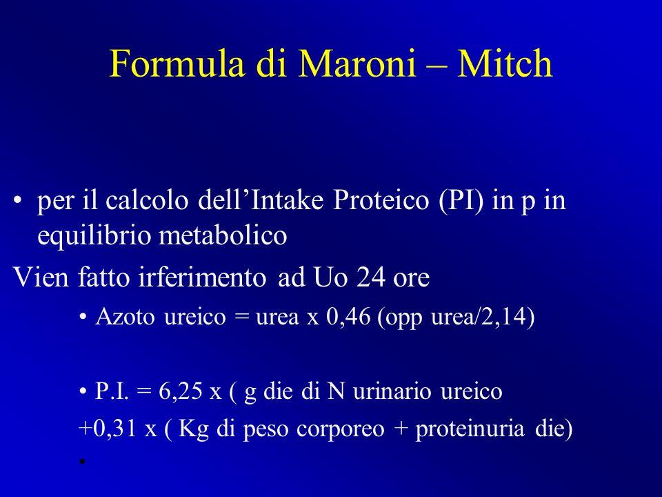 Formula di Maroni – Mitch per il calcolo dellIntake Proteico (PI) in p in equilibrio metabolico Vien fatto irferimento ad Uo 24 ore Azoto ureico = ure