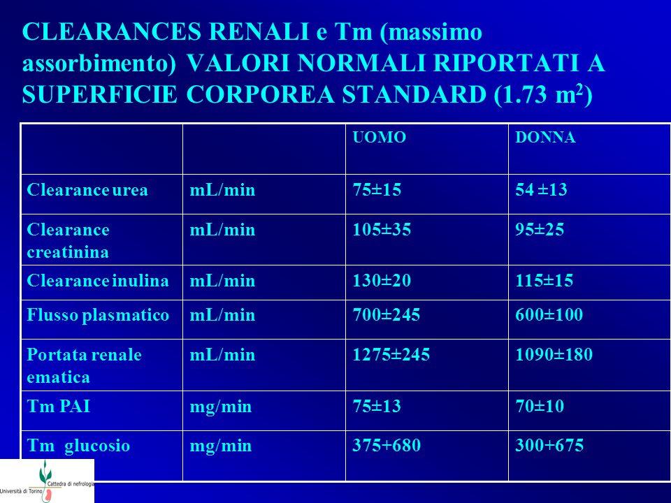 CLEARANCES RENALI e Tm (massimo assorbimento) VALORI NORMALI RIPORTATI A SUPERFICIE CORPOREA STANDARD (1.73 m 2 ) 300+675375+680mg/minTm glucosio 70±1