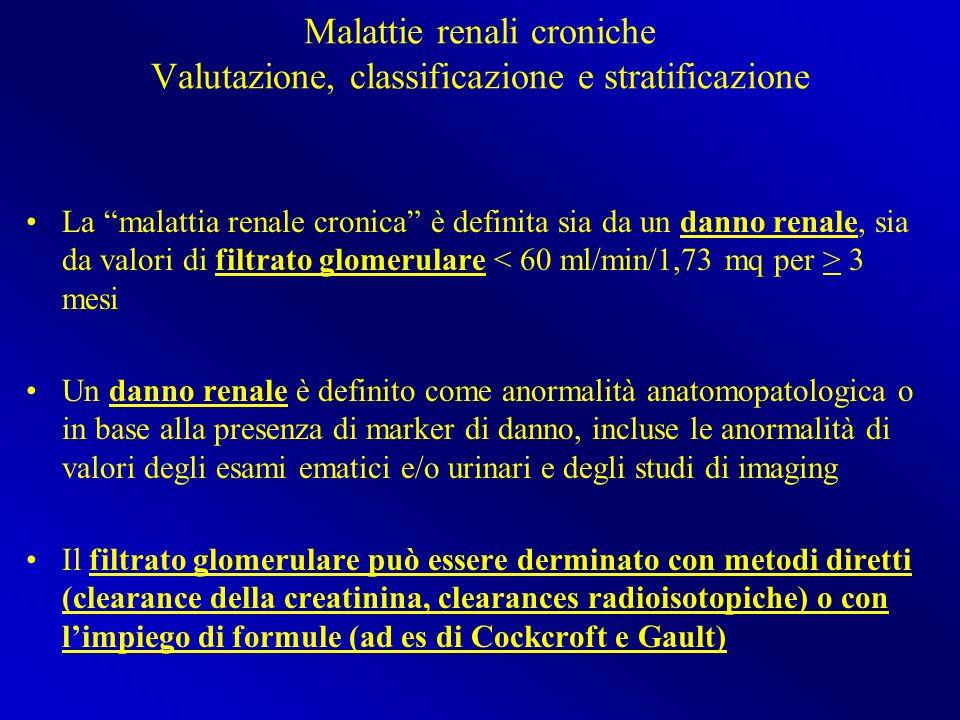 Malattie renali croniche Valutazione, classificazione e stratificazione La malattia renale cronica è definita sia da un danno renale, sia da valori di
